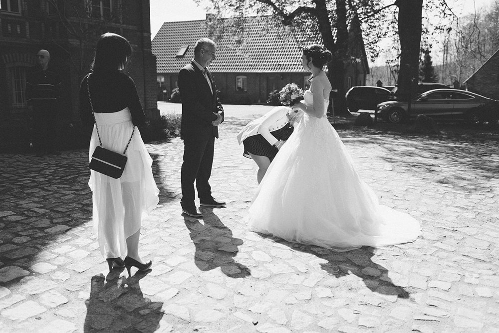 Braut Brautvater Hochzeit Foto Schwarz Weiss