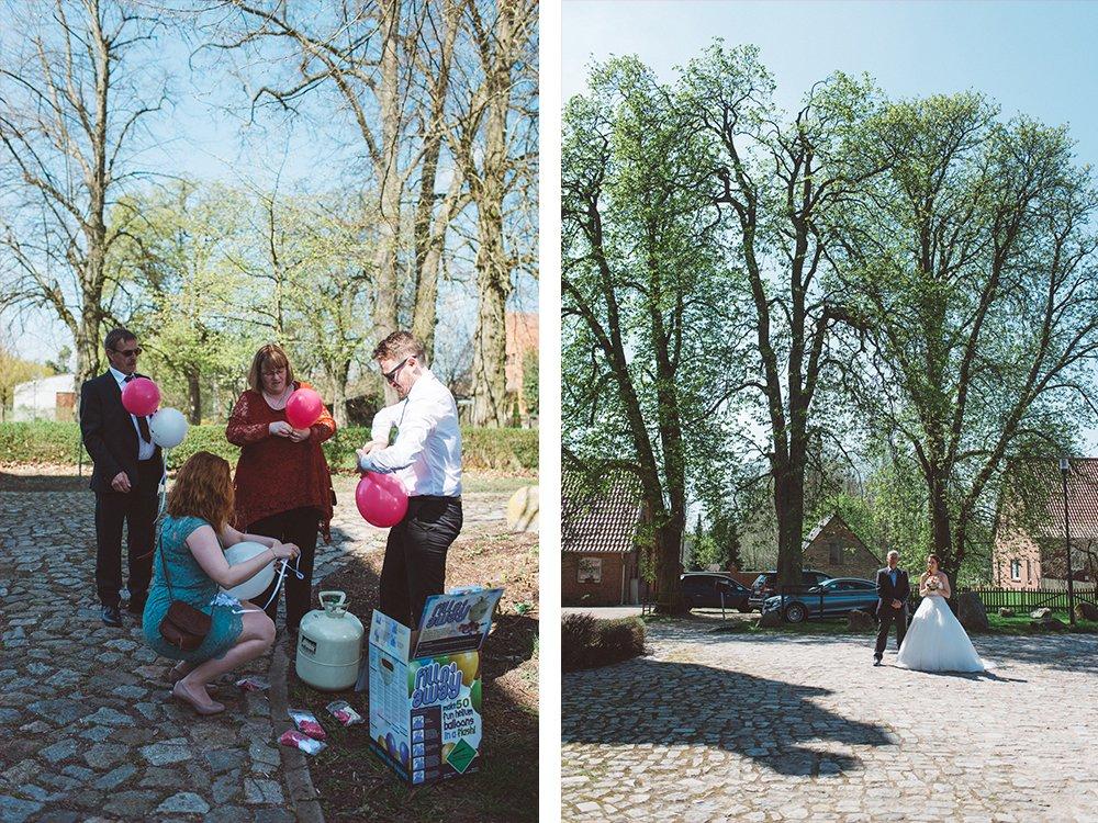 Luftballoons Vorbereitung Braut Brautvater